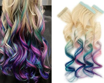 Tape in Remy Ombre Human Hair Extensions Blonde Rainbow Mermaid Aqua Blue Teal Pink Purple (20 pack)