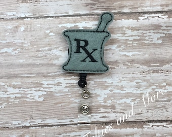 Mortar and Pestle Badge Reel, Badge Reel, Nurse Badge Reel, ID Badge, Pharmacy Badge Reel, Retractable Badge Reel, Pharmacy Tech Badge Reel