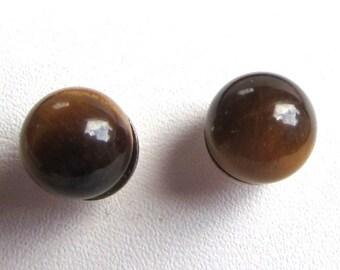 6mm Half Drilled Tigers Eye Sphere Sterling Silver Stud or Post Earrings