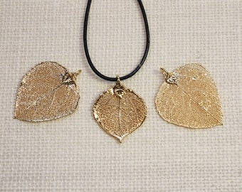 SALE Leaf Necklace, Gold Aspen Leaf, Real Aspen Leaf, Aspen Leaf, Gold Aspen Leaf, Real Leaf Necklace, Aspen Leaf Pendant, SALE139