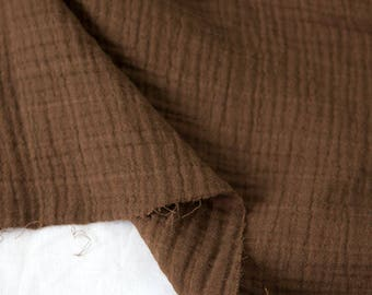"Brown Wrinkled Cotton Gauze, Double Gauze, Brown Gauze, Crinkle Gauze, Yoryu Gauze - 59"" Wide - By the Yard 99212"
