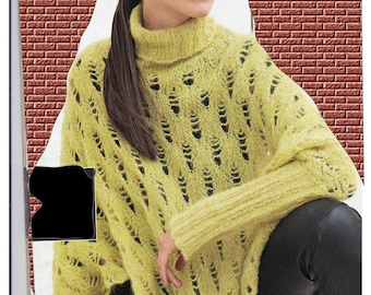 Loose colours Alpaca poncho sweater, size 38 to 46