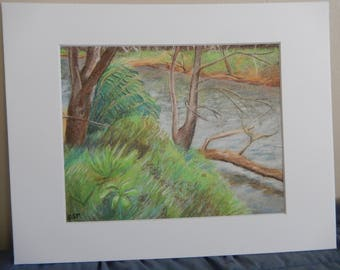 "Fine Art Print - Bamboos by the Riverside - 8"" by 10"" Print, 11"" by 14"" Matted"