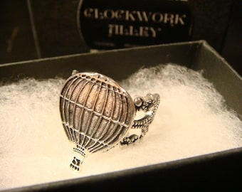 Hot Air Balloon Filigree Ring in Antique Silver (2520)