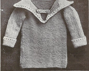 Baby Sailor Style Jumper Vintage Knitting Pattern 139
