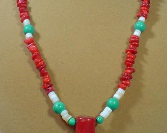 """23"""" Red Coral and Turquoise Necklace with Red Branch Coral Pendant - N487"""