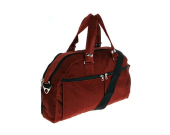 Red Corduroy, messenger ,padded laptop bag, Overnight Bag - Neo