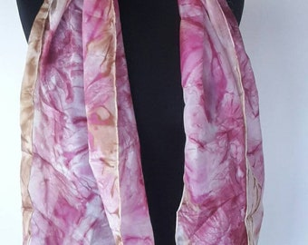 "Handmade Vintage pure silk shawl scarf -  144 x 40 cm / 56.7 x 15.75 ""-"
