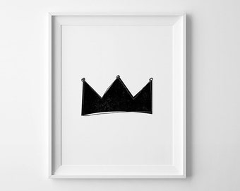 Black and white nursery art, Mini Learners crown print, wall prints, affiche scandinave, nursery print, wall art prints, nusery wall art