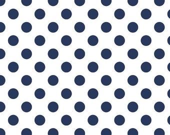 Summer Clearance Riley Blake Fabric - 1 Yard of Medium Dots in Navy