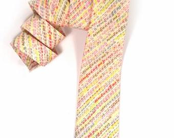 Wedding Mens tie,  pink yellow coral and orange stripes necktie
