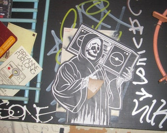 Skeleton with Boombox, Digital Photography Download, Wheatpaste Street Art, Philadelphia Graffiti, Halloween Decoration