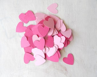 Heart Confetti Light and Dark Pink 1 Inch