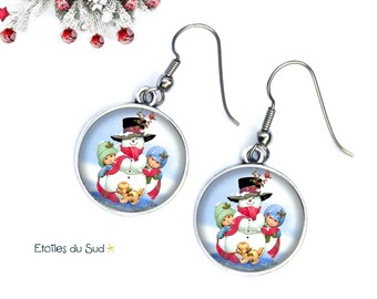 Christmas earrings snowman snow, snow, Christmas gift/resin cabochon, ref.106