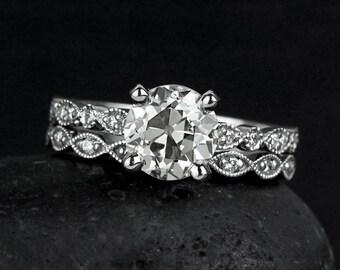 Vintage Old European Cut Engagement Ring - Diamond Ring - Leaf Milgrain Wedding Band