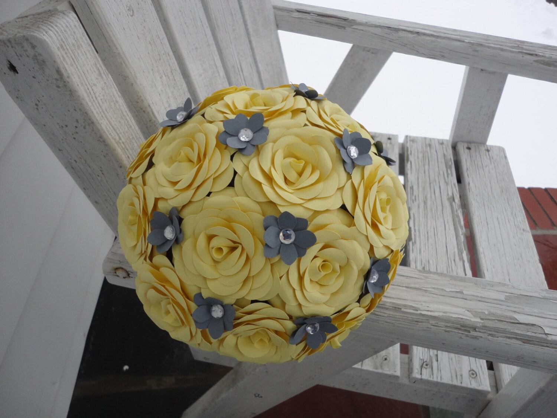Yellow Rose Bridal Bouquet Wedding Grey Hydrangeas