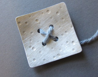 Large Spotted Button square with 4 large holes silvertone metal 1.5 inch artisan handmade