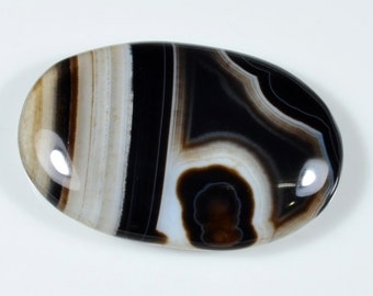 Black Agate Cabochon with White Lines. Black Oval Cabachon for Making Jewelry. Oval White Lined Cabochon. White Stone Cabochon 44x28x6 mm