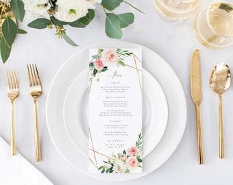 Editable Template - Instant Download Geometric Spring Romance Dinner Menu