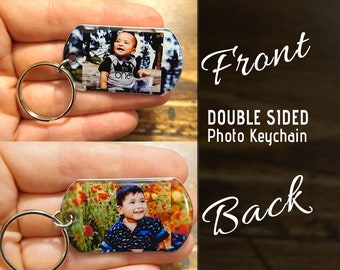 2 photo keychain. Double sided keychain with your custom photo. Custom key fob, custom keychain, custom photo keychain, personalized gifts