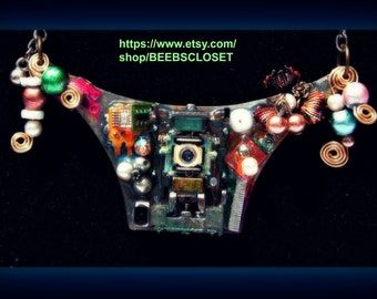 Techie,Steam punk Necklace, beads,chain, beads, flowers, computer circuit board,PCB jewelry, Recycled Punk necklace,Geek, Cyberpunk jewelry