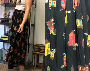 Vintage Houses Pattern Skirt