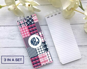Madras Notepad, Plaid Notepad, Set of 3 Personalized Note Pads, Patch Madras, Monogram Notepad, Teacher Gift, Stocking Stuffer, Office Gift