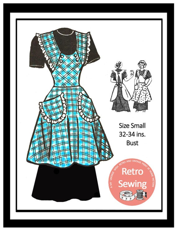 1950s Apron Sewing Pattern - PDF Sewing Pattern - Instant Download ...