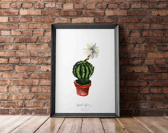 Watercolor Cactus Succulent Print | Watercolor Flowers | Printable Quotes | Downloadable Prints
