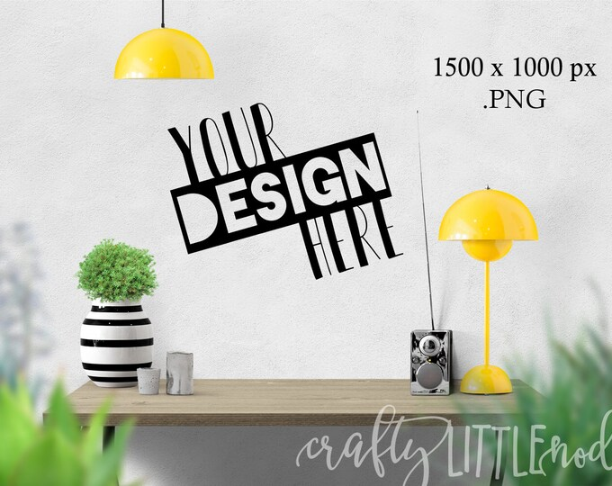 Black Wall Mockup Yellow Style Styled Stock Photography Blank Frame Black Wall Decal Blank Picture SVG Blanks PNG Printable Mockups