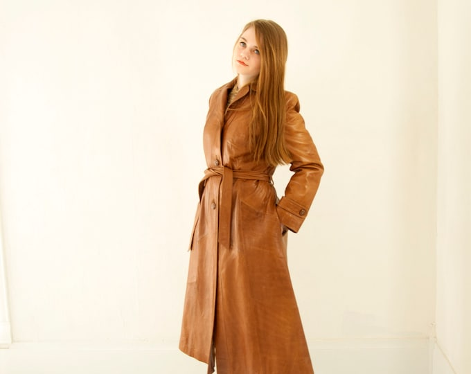 Vintage long leather jacket, genuine brown trench coat, boho retro 1970s M L deadstock NOS