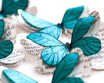Papillons turquoise, décoration bohème chic, décoration chambre bébé fille, décoration mariage bleu turquoise, mariage champêtre