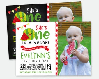 Watermelon First Birthday Invitation with Photo, Fruit Birthday Party, Personalized Digital Invitation, 2 options