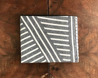 Upcycled Grey and White Striped Cloth Mens Bifold Wallet with Mint and Black Interior