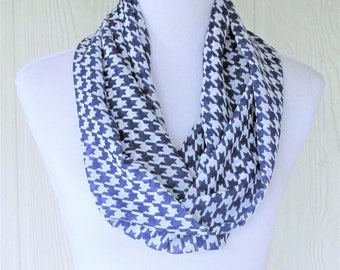 Navy Houndstooth Infinity Scarf, Navy Blue and White, Accessory for Women, Necklace Scarf, Women's Scarves, Eclectasie