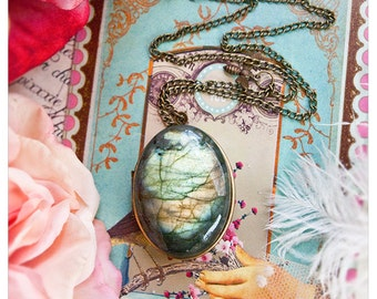 persephone's mirror - brass locket w/ huge labradorite cabochon - solid perfume/cologne held captive within locket - over 60 aroma options