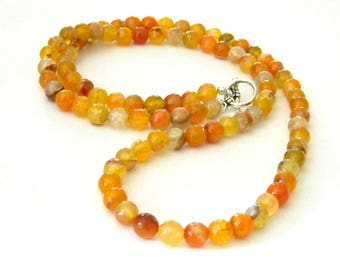 Long  Orange Agate Stone Necklace Toggle Clasp 30 Inch