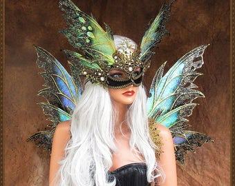 Adult Fairy Wings and Mask**Iridescent Black/Gold**FREE SHIPPING**CosplayMasquerade/Weddings