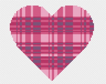Pink Tartan Heart - Modern Cross Stitch Pattern - PDF Only - Instant Download - Valentine