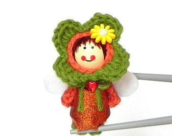 Madarin Flower Fairy MochiQtie Amigurumi - Mochi size crochet mini stuffed toy doll - Crochet Amigurumi art doll
