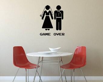 Bridge & Groom Game Over Fun Wall Sticker, Matt Vinyl, Contemporary Wall Art, Wall Decor, Murals, Decals, 676mm x 550mm
