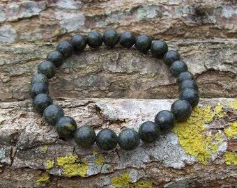 8mm Russian Serpentine Bracelet • Bead Bracelet Womens, Mens Gemstone Bracelet • Stacking guy Bracelet • green Bracelet • Gifts
