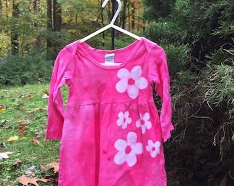 Girls First Birthday Gift, Pink Girls Dress, Flower Girls Dress, Long Sleeve Girls Dress, Pink Flower Dress, Girls Flower Dress (12 months)