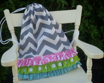 Custom Youth/Adult Size Grey Chevron Drawstring Backpack
