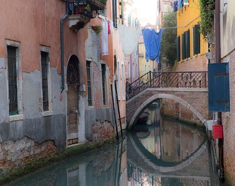 Venice, Italy, Canal, Bridge, Yellow House, Laundry Hanging, Reflections, Travel Photography