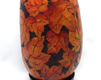 OOAK Large Fall Leaf Dried Gourd Artist Vase by Lori Platt The Pixie Knoll
