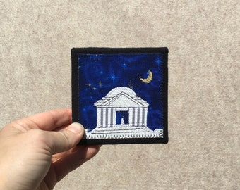 Mini Jefferson Memorial at Midnight, 4x4 inches, original sewn fabric artwork, handmade, freehand appliqué, ready to hang canvas