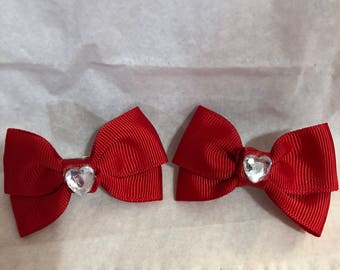 2 1/2 Red french Barrettes with Crystal Shaped Heart in Center (Set Includes Two Barrettes)