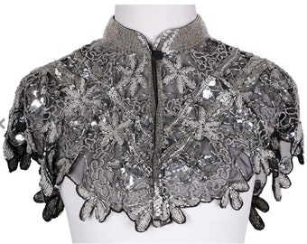 SILVER/BLACK Sequin Glass Beaded & Sequin FULL Wrap Lace Collar Shoulder Shrug Shawl Applique