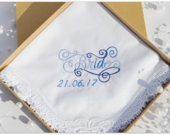 Lace Corner Brides  Handkerchief with Gift Box, something blue idea, some think blue for bride, gift for bride.